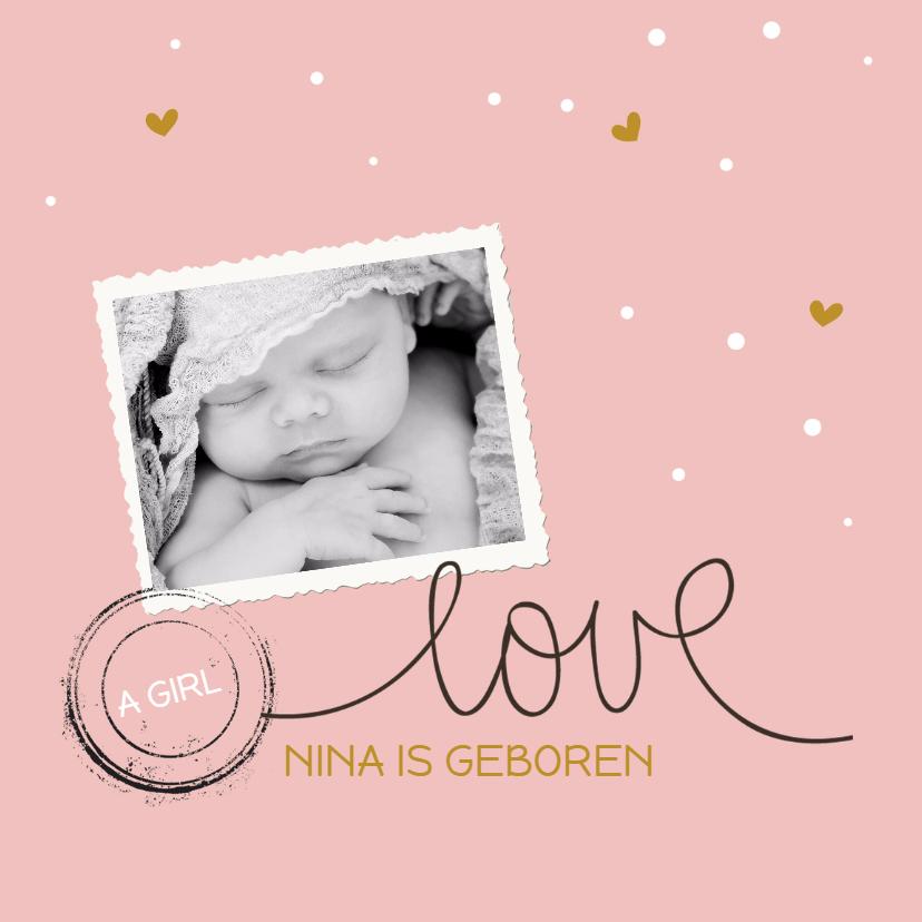 Geboortekaartjes - Hip geboortekaartje met foto
