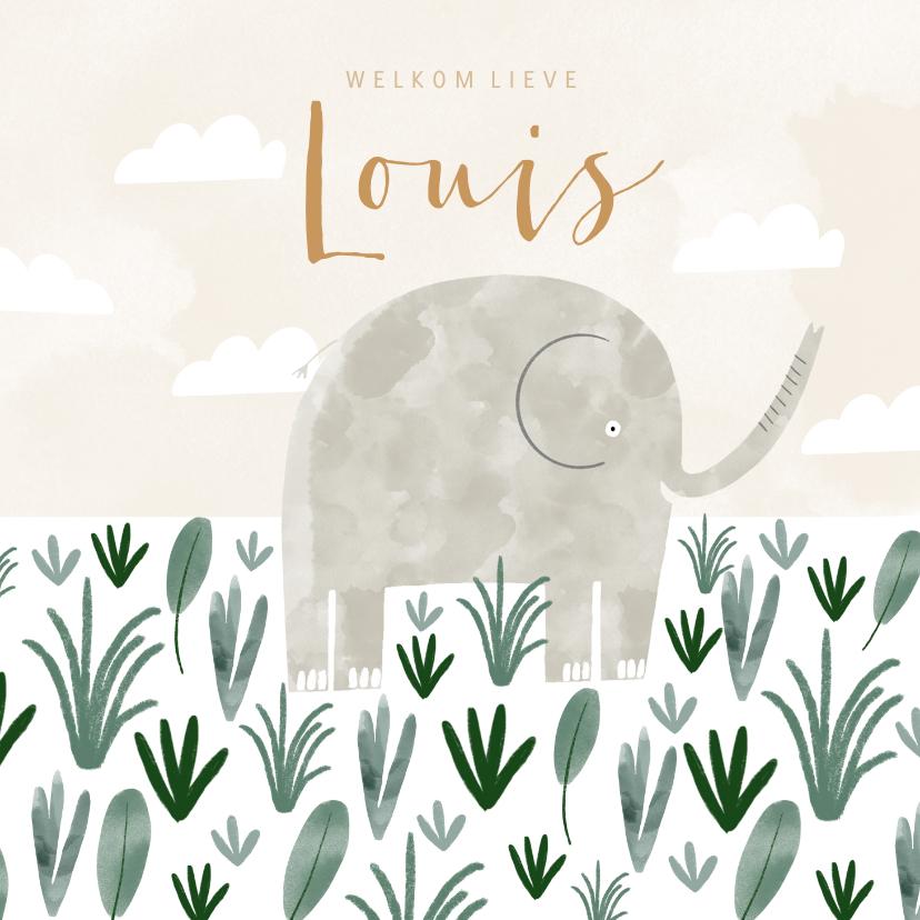 Geboortekaartjes - Hip geboortekaartje olifant savanne illustratie