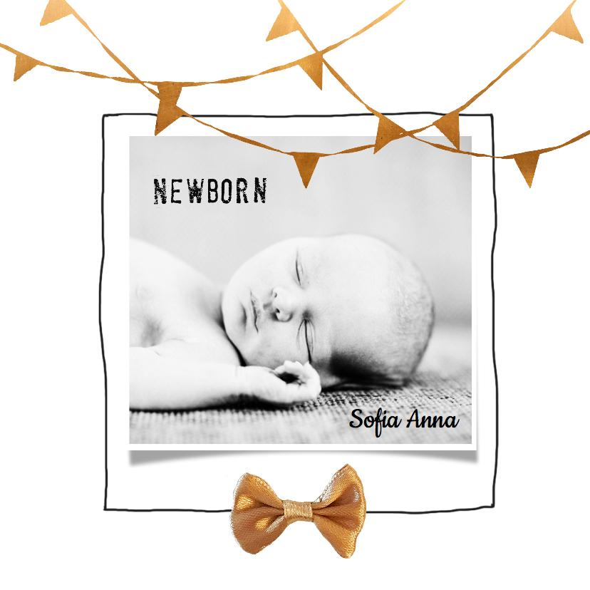 Geboortekaartjes - Hip geboortekaartje strik koper