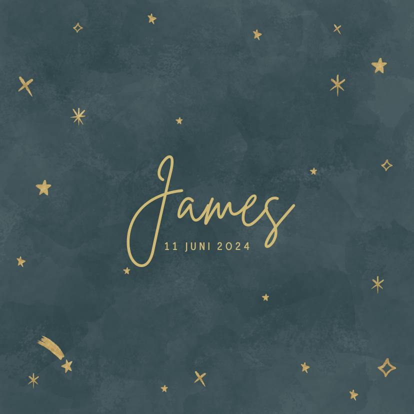 Geboortekaartjes - Hip geboortekaartje voor een jongen met gouden sterretjes