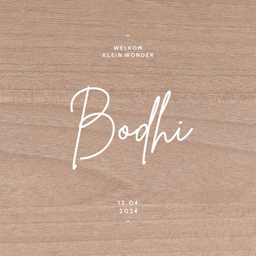 Geboortekaartjes - Hip geboortjekaartje neutraal houtlook minimalistisch