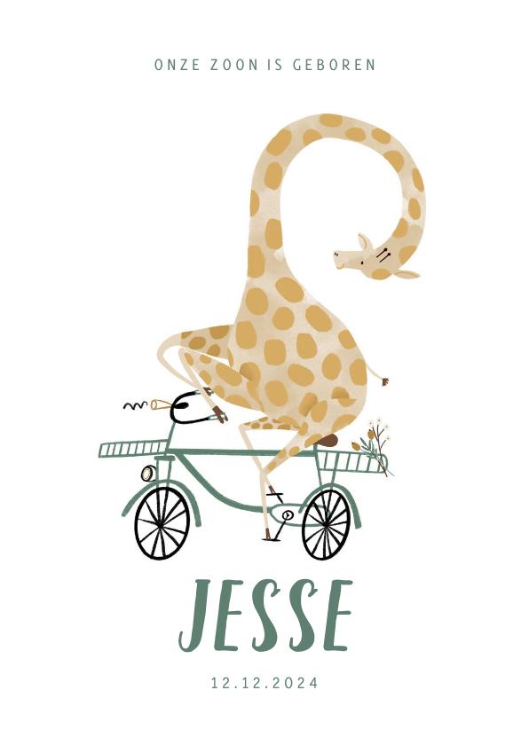 Geboortekaartjes - Hip lief geboortekaartje giraf op de fiets illustratie