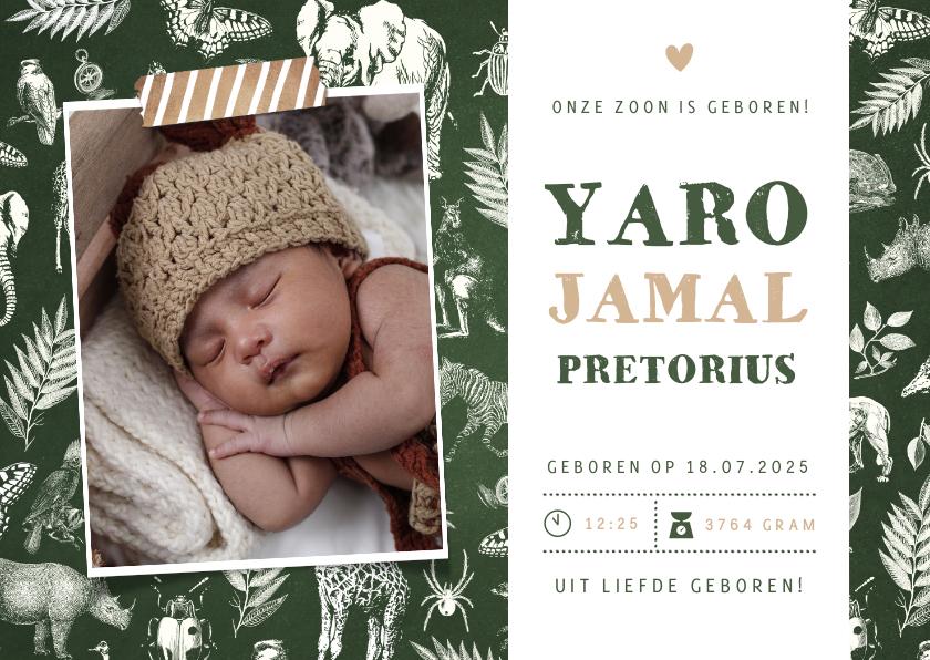 Geboortekaartjes - Jungle geboortekaartje jongen met dieren en een eigen foto