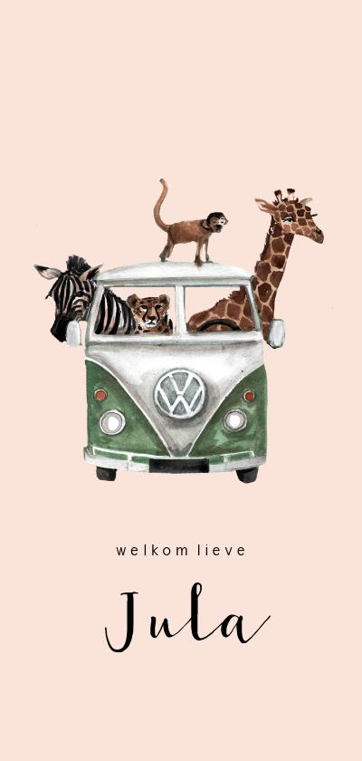Geboortekaartjes - Jungle geboortekaartje met een busje vol dieren