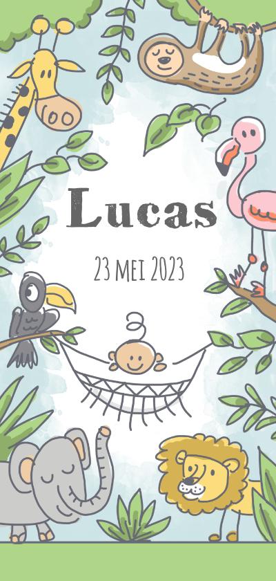 Geboortekaartjes - Junglekaartje met baby in hangmat en wilde dieren