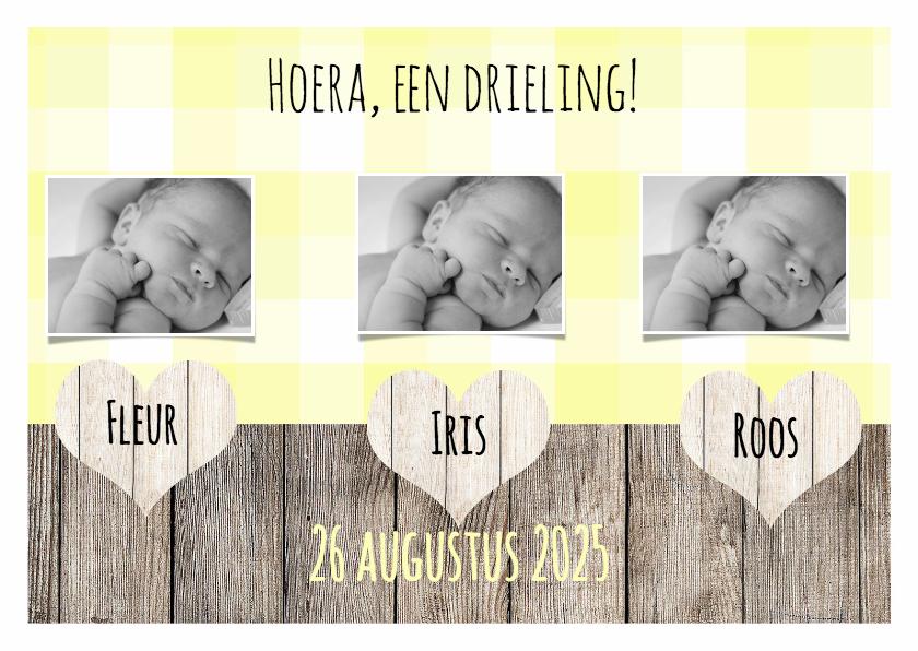 Geboortekaartjes - Kaartje voor een drieling - DH