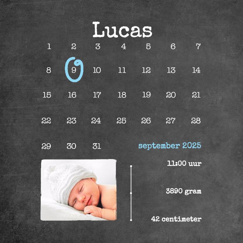 Geboortekaartjes - Kalender krijt  jongen - BK