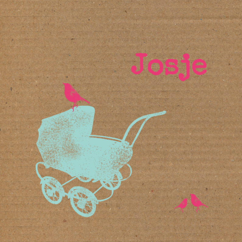 Geboortekaartjes - Kinderwagen, karton achtergrond