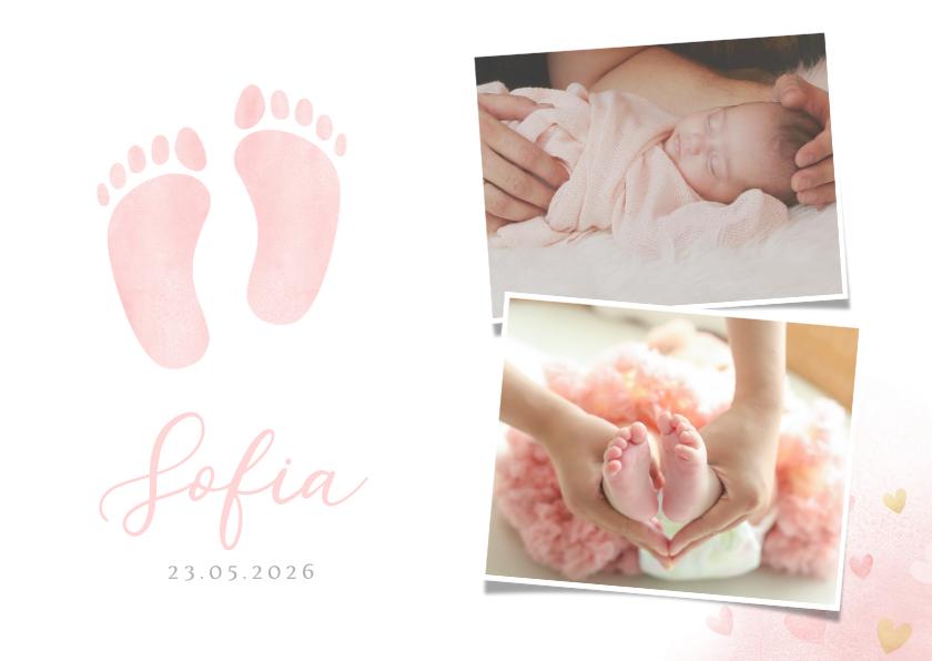 Geboortekaartjes - Klassiek geboortekaartje meisje - waterverf voetjes en foto