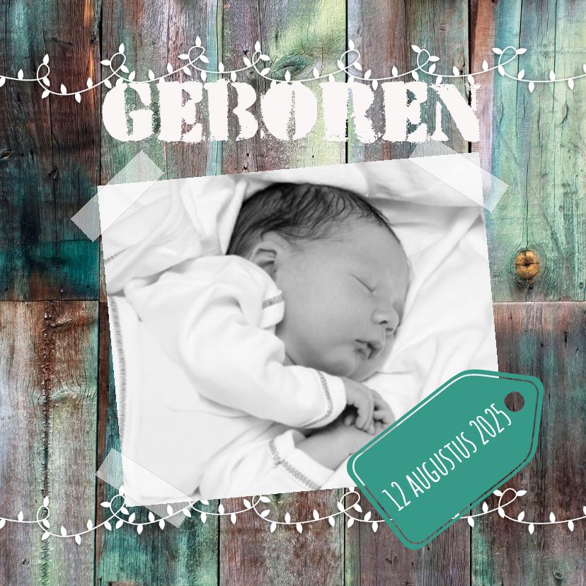 Geboortekaartjes - Kleuren houten achtergrond-isf
