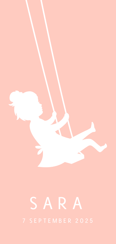 Geboortekaartjes - Langwerpig geboortekaartje meisje silhouet op schommel