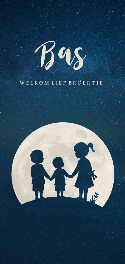 Geboortekaartjes - Langwerpig geboortekaartje silhouet 3 kinderen in een maan
