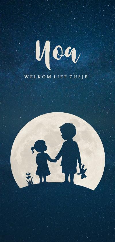 Geboortekaartjes - Langwerpig geboortekaartje silhouet broer met zusje in maan