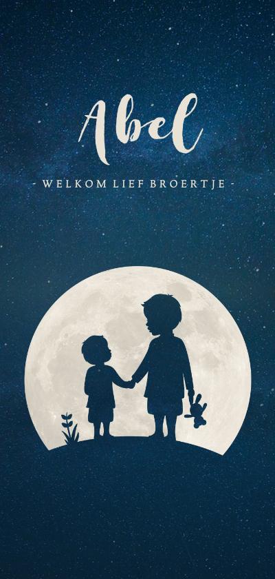 Geboortekaartjes - Langwerpig geboortekaartje silhouet broertjes in volle maan