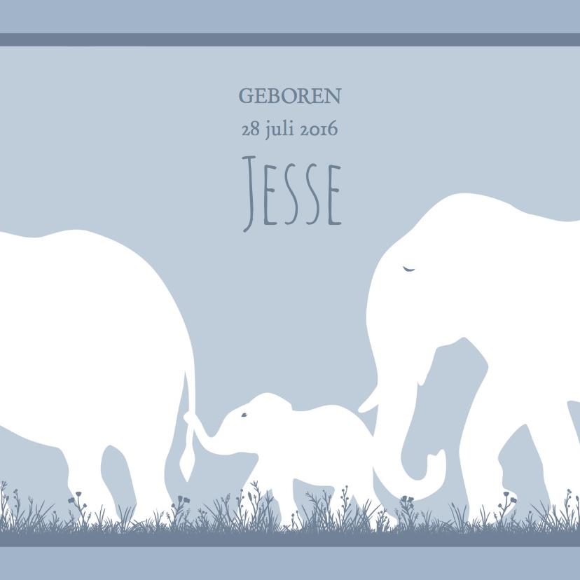 Geboortekaartjes - Leuk geboortekaartje met olifantje voor zoon