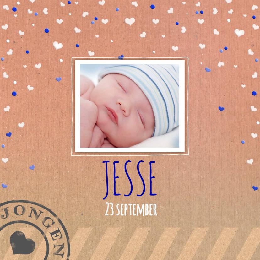 Geboortekaartjes - Leuke geboortekaart op karton-print voor een jongen