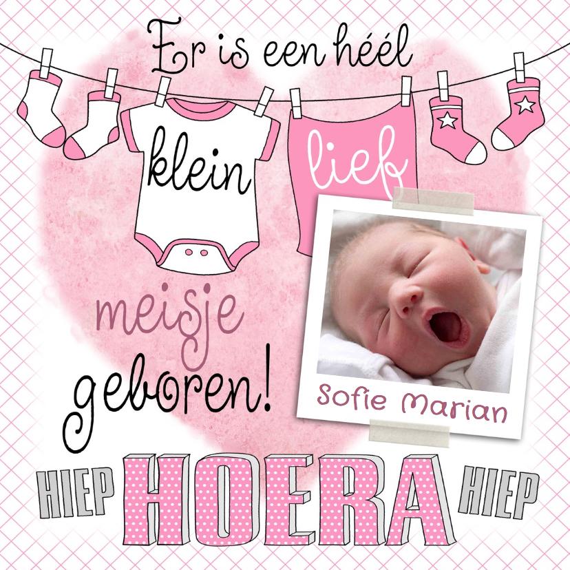 Geboortekaartjes - Leuke geboortekaart voor meisje met waslijn, sokjes en foto