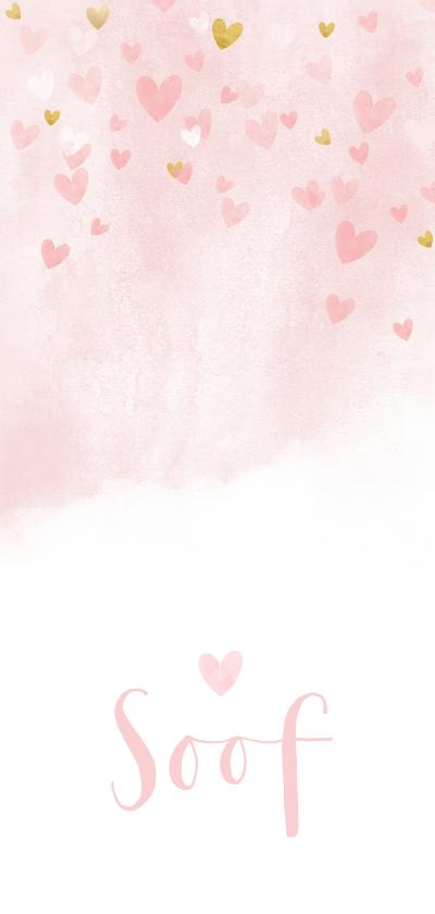 Geboortekaartjes - Lief en hip langwerpig geboortekaartje met waterverf hartjes