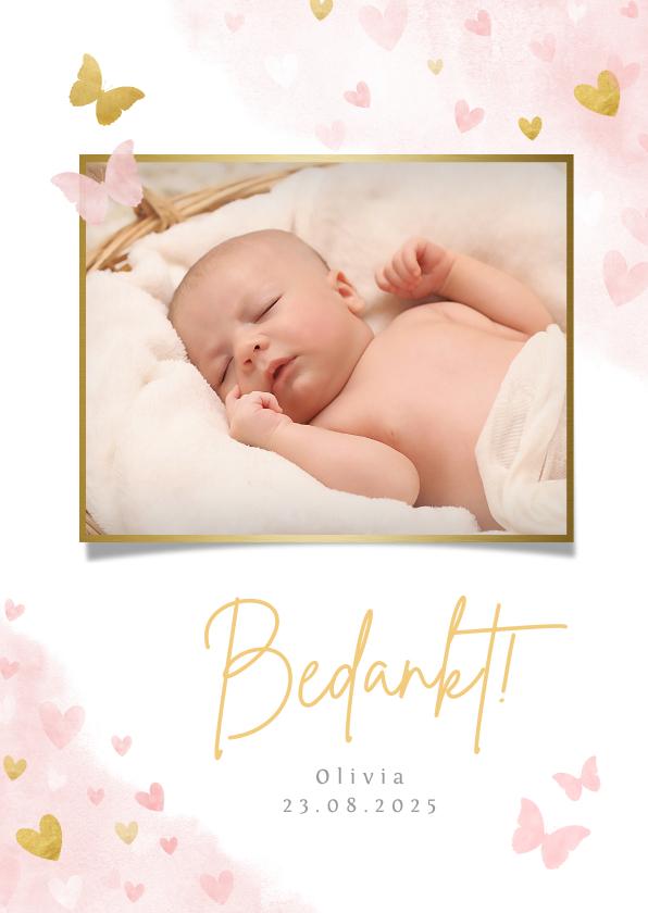 Geboortekaartjes - Lief geboorte bedankkaartje met foto voor een meisje