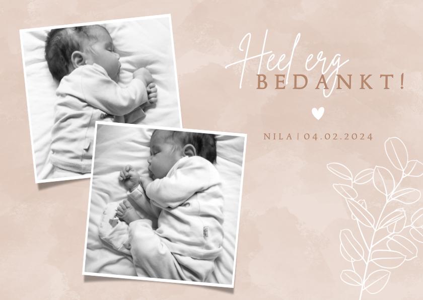 Geboortekaartjes - Lief geboorte bedankkaartje met foto's en eucalyptus