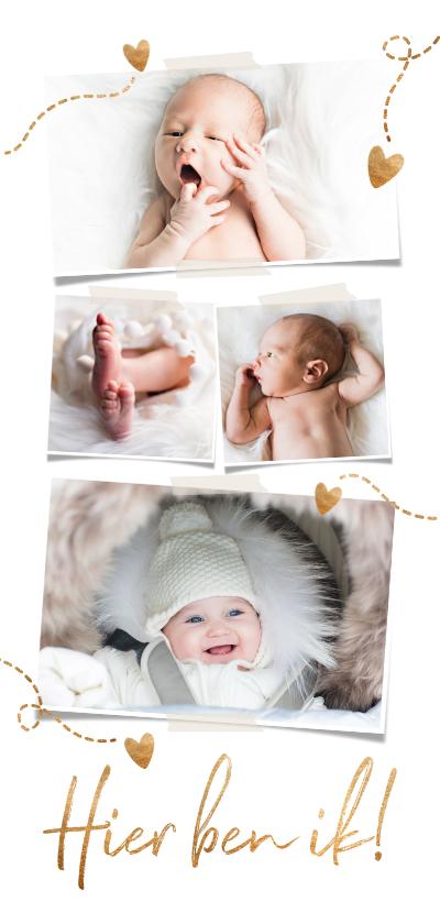 Geboortekaartjes - Lief geboortekaartje 4 foto's hartjes en goud koperlook