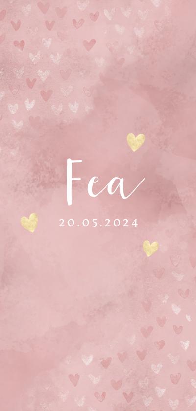 Geboortekaartjes - Lief geboortekaartje dwarrelende hartjes roze waterverf