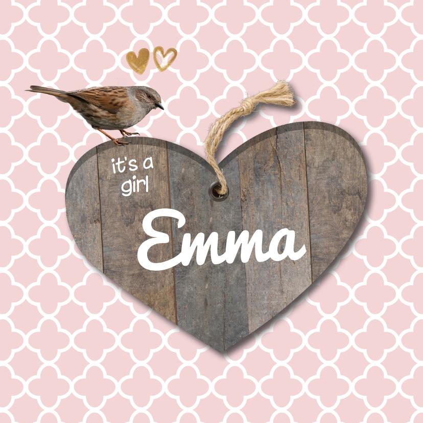 Geboortekaartjes - Lief geboortekaartje hout look en roze patroon