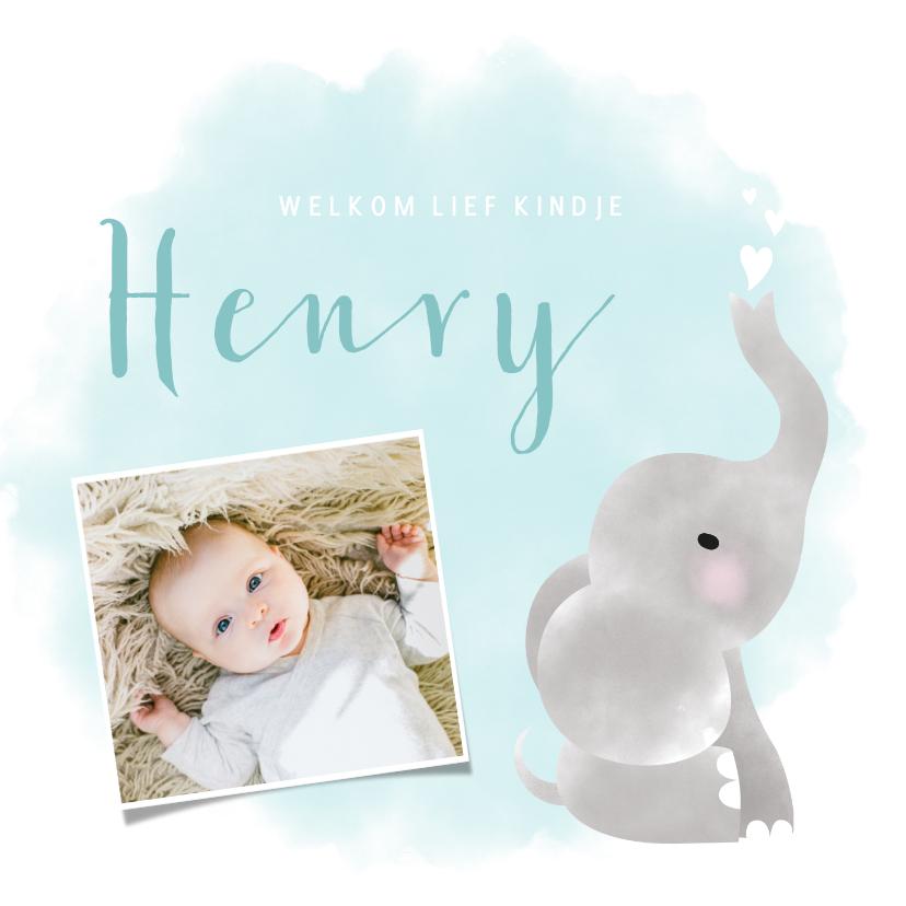 Geboortekaartjes - Lief geboortekaartje jongen met olifantje en waterverf
