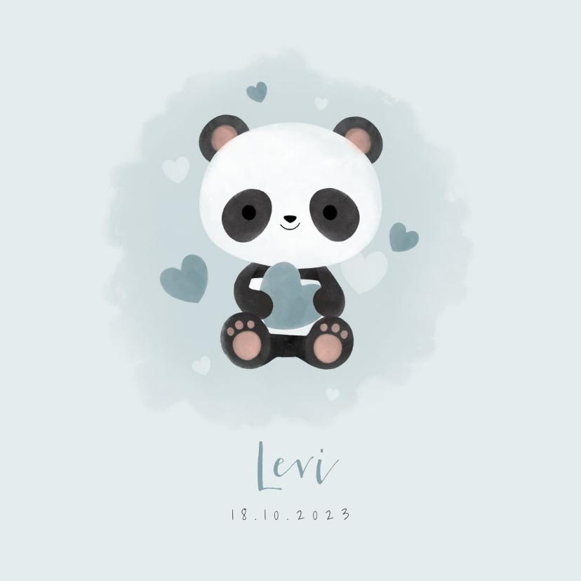 Geboortekaartjes - Lief geboortekaartje jongen met panda, hartjes en waterverf