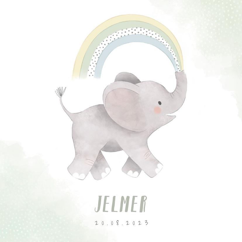 Geboortekaartjes - Lief geboortekaartje jongen olifant, regenboog en waterverf