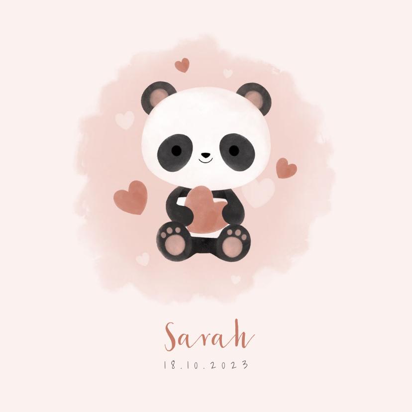 Geboortekaartjes - Lief geboortekaartje meisje met panda, hartjes en waterverf