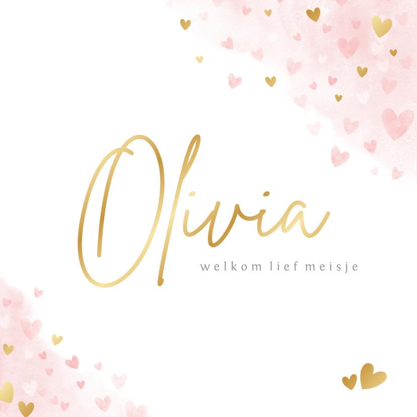 Geboortekaartjes - Lief geboortekaartje meisje met roze en gouden hartjes