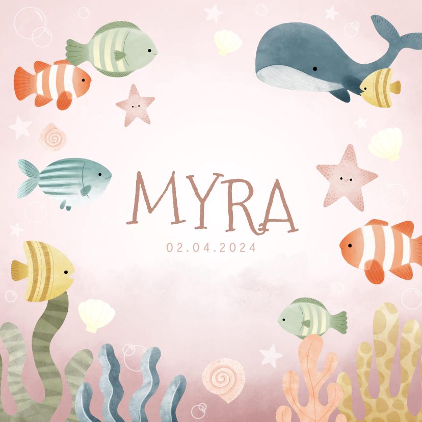Geboortekaartjes - Lief geboortekaartje meisje oceaan met visjes en plantjes