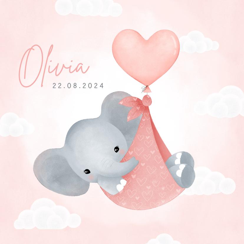 Geboortekaartjes - Lief geboortekaartje meisje olifantje in draagzak en ballon