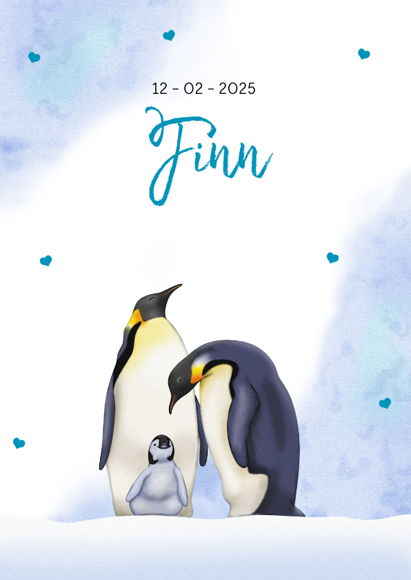 Geboortekaartjes - Lief geboortekaartje met 2 trotse pinguïns met jong