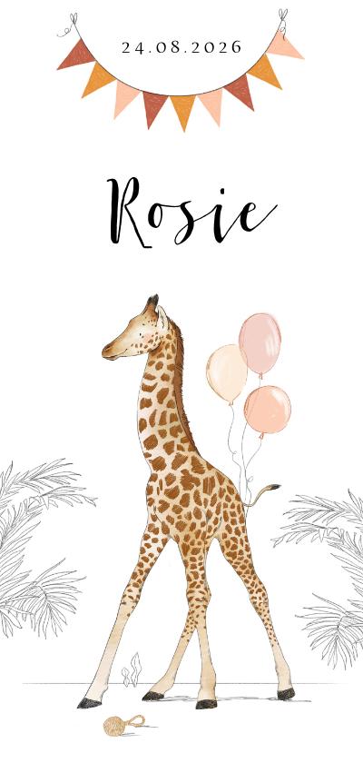 Geboortekaartjes - Lief geboortekaartje met babygiraf, slingers en ballonnen
