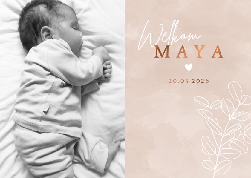 Geboortekaartjes - Lief geboortekaartje met foto eucalyptus waterverf en hartje