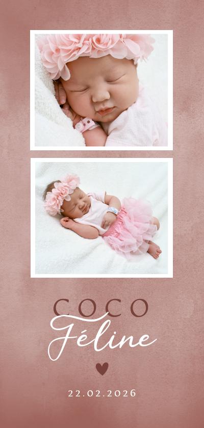 Geboortekaartjes - Lief geboortekaartje met foto's roze waterverf en hartje