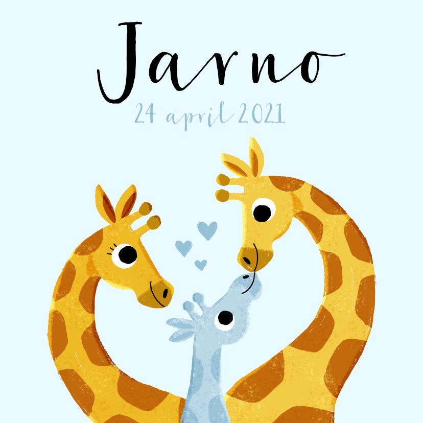 Geboortekaartjes - Lief geboortekaartje met giraffes en hartjes voor jongen