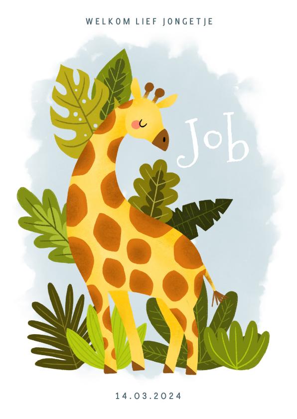 Geboortekaartjes - Lief geboortekaartje met giraffe, plantjes en waterverf
