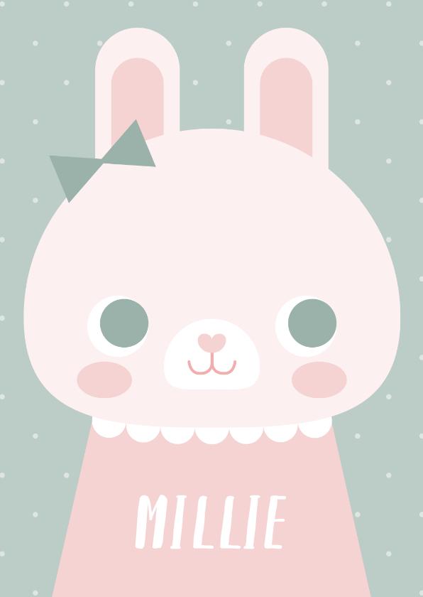 Geboortekaartjes - Lief geboortekaartje met konijn en stipjes meisje