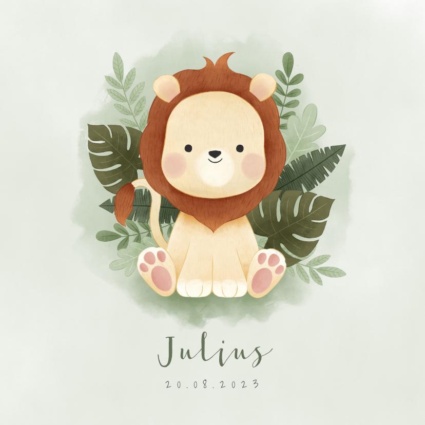 Geboortekaartjes - Lief geboortekaartje met leeuw, plantjes en waterverf