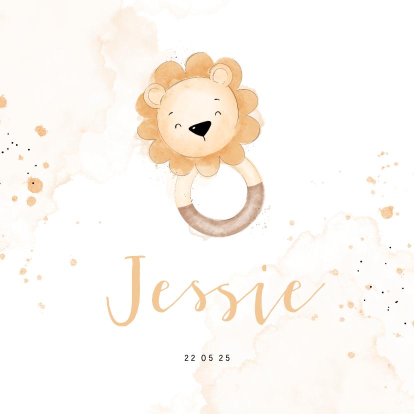 Geboortekaartjes - Lief geboortekaartje met leeuwtje bijtring
