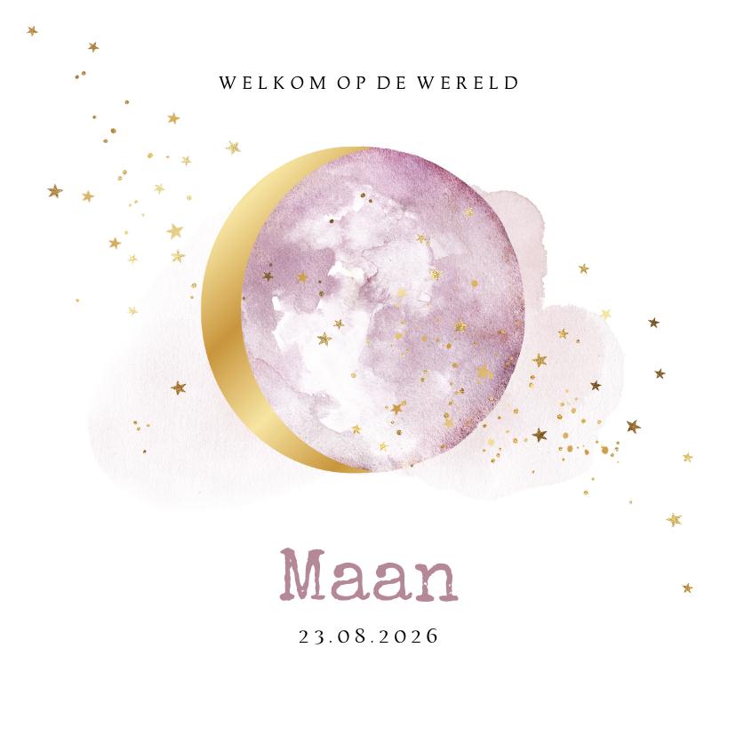 Geboortekaartjes - Lief geboortekaartje met lila watercolour en maan in goud