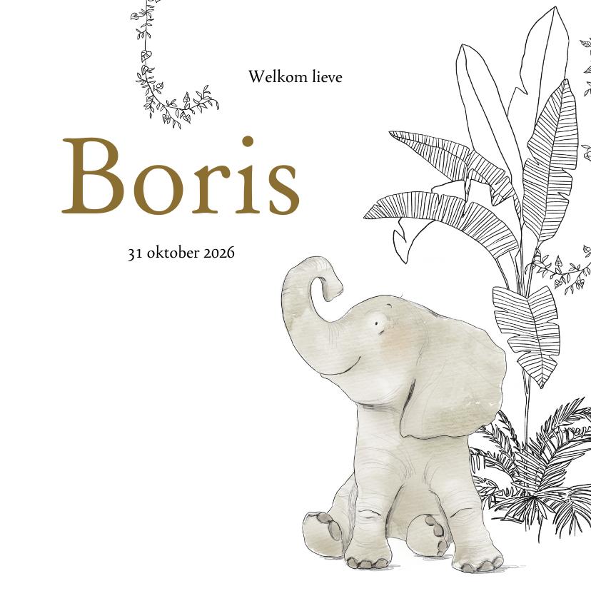 Geboortekaartjes - Lief geboortekaartje met olifant en jungle elementen