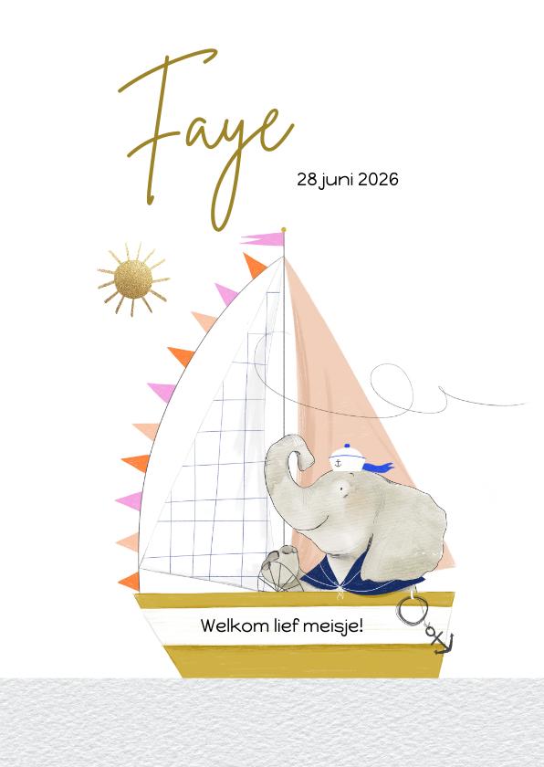 Geboortekaartjes - Lief geboortekaartje met olifantje en zeilboot