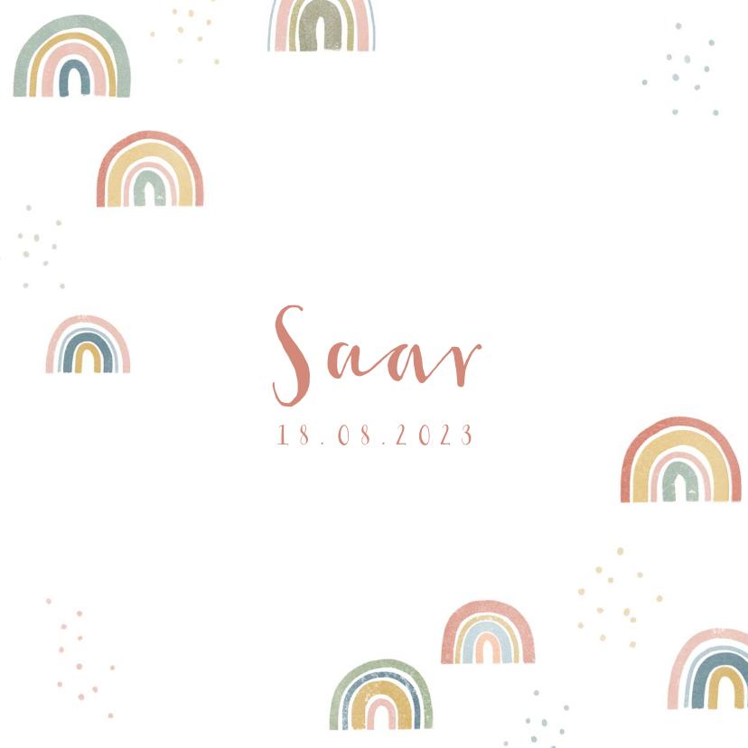 Geboortekaartjes - Lief geboortekaartje met regenboogjes en stipjes