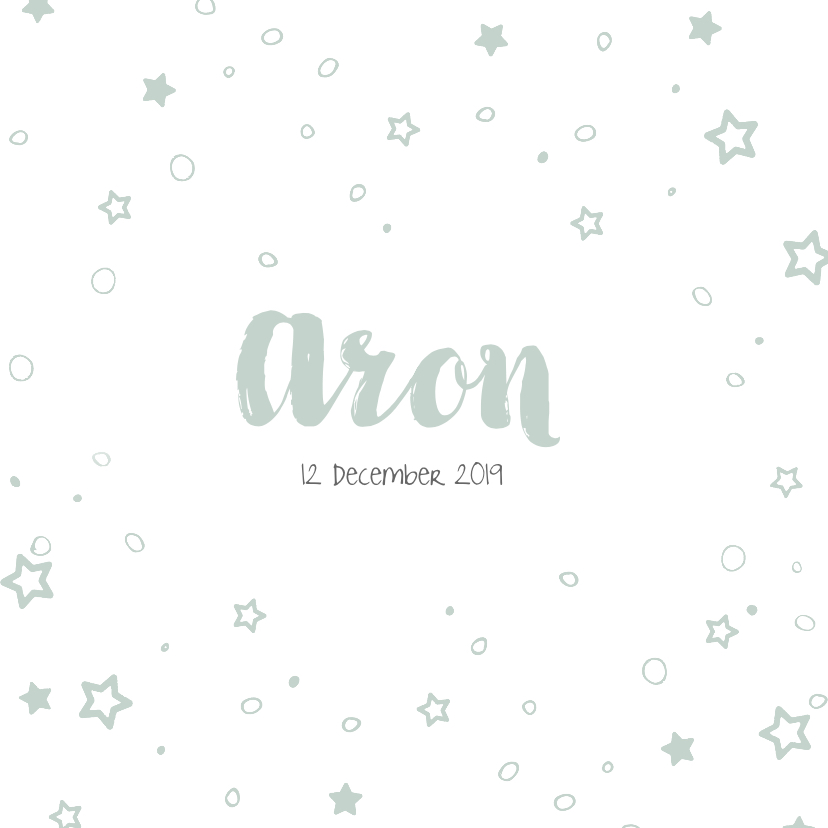Geboortekaartjes - Lief geboortekaartje met rondjes en sterren confetti