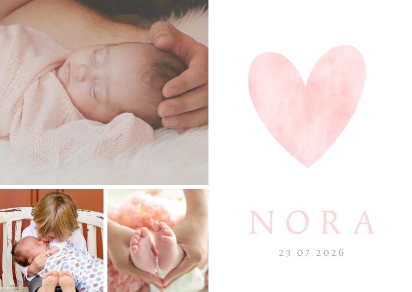 Geboortekaartjes - Lief geboortekaartje met roze waterverf hart en eigen foto's