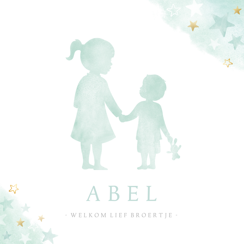 Geboortekaartjes - Lief geboortekaartje met silhouet van grote zus en broertje